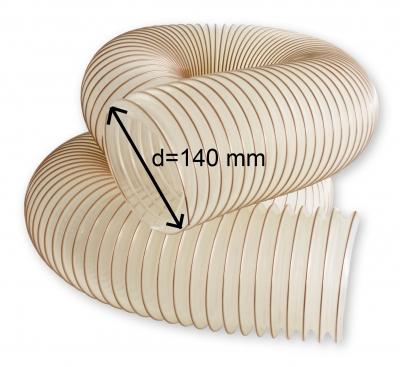 Odsávací polyuretanová antistatická hadice TPU-Z d=140 mm